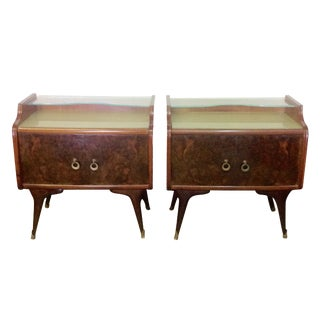 Mid-Century Italian Burl Wood Side Tables - Pair