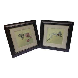 Modern Butterfly Embroidered Wall Art. A Pair