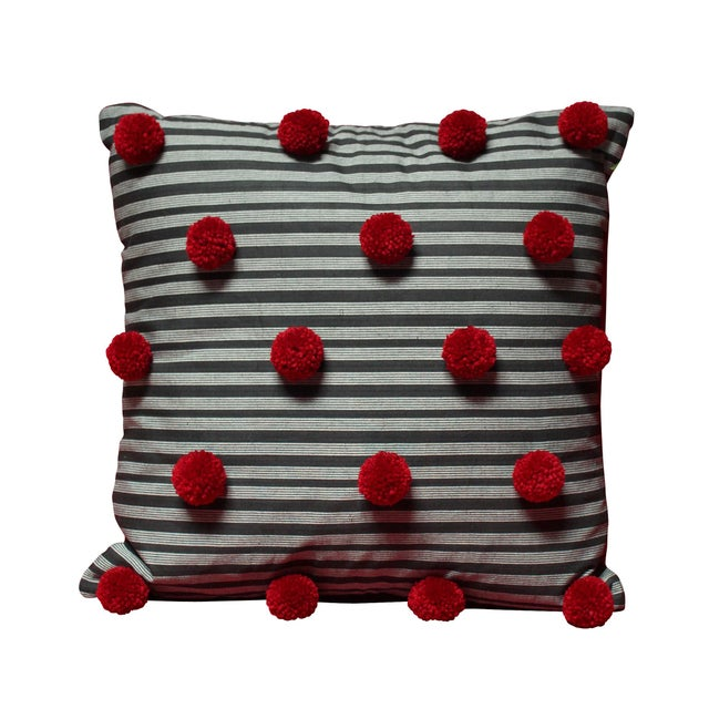 Black Lurik Pillow with Cranberry Red Pom-poms Tassels - Image 6 of 6
