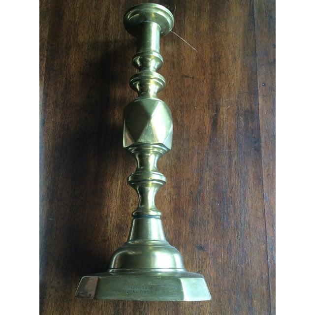 1897 English Brass Candlesticks - Pair - Image 4 of 6