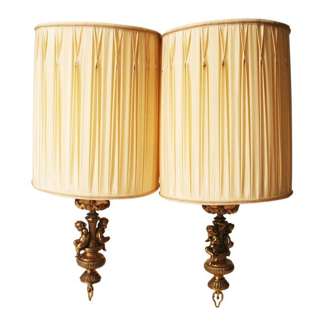 Vintage Hollywood Regency Brass Cherub Pendant Lamps - A Pair - Image 1 of 11