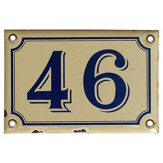 "Vintage French ""46"" House Plaque"