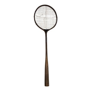 Antique Wood Frame Badminton Racquet