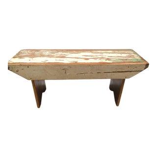 White Handmade Wood Bench
