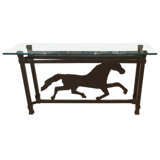 Unusual Iron Striding Horse Console Table
