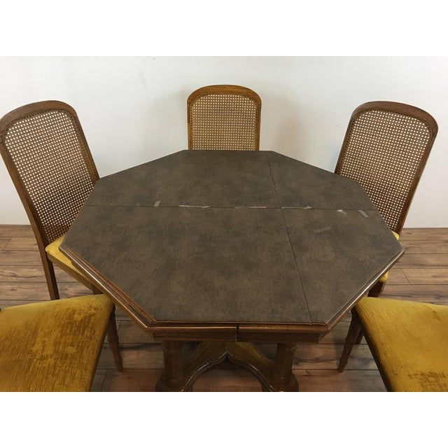 Vintage Dining Table & Cane Back Chairs - Image 4 of 7