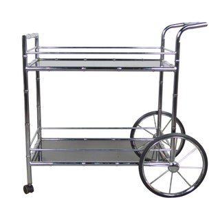 Chrome Bamboo Bar Cart