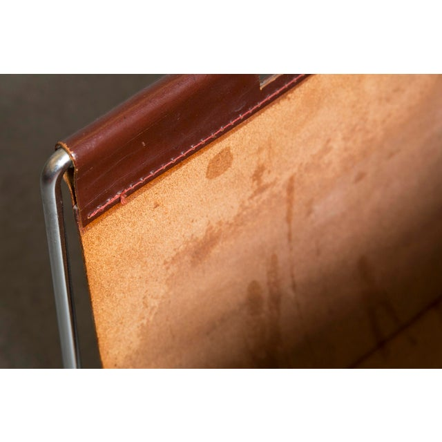 Mid-Century Leather and Chrome Magazine Stand - Image 8 of 9