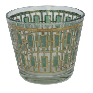 Vintage Culver Green and Gold Ice Bucket