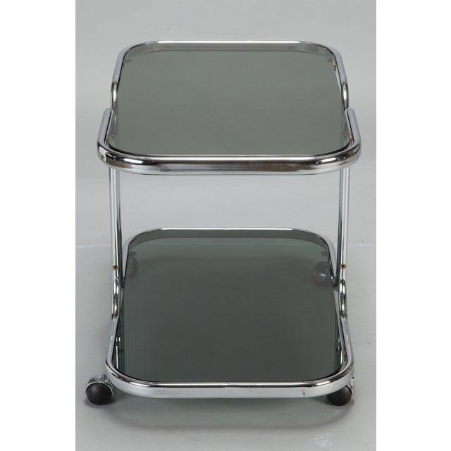Mid-Century Black Glass Chrome Bar Cart - Image 5 of 6