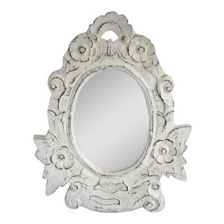 White Distressed Carved Wood Mirror