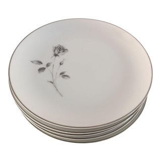 "Vintage Fine China ""Shadow Rose"" Salad Plates - Set of 6"