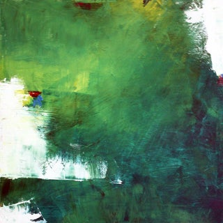 """July"" Green & White Abstract Oil Painting by Paul Ashby"