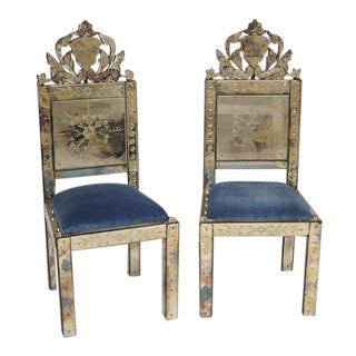 Andrew Martin Venetian Glass Chairs - a Pair