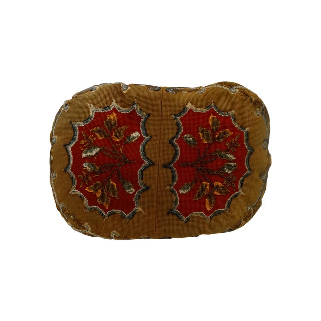 Image of Antique Beaded Needlepoint Pillow