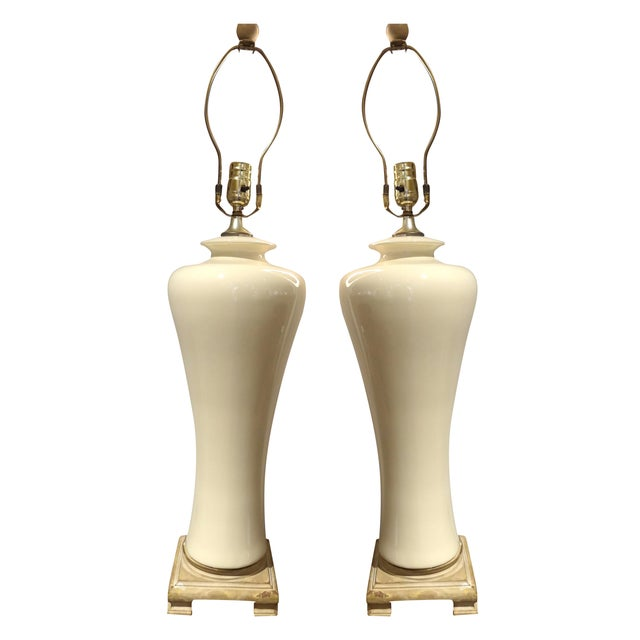 Image of White Ceramic Lamps - A Pair