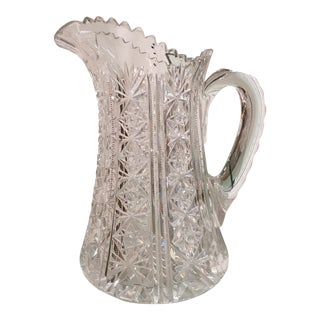 Antique American Star Cut Crystal Pitcher