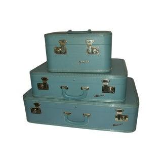 1950s Light Blue Luggage- Set of 3