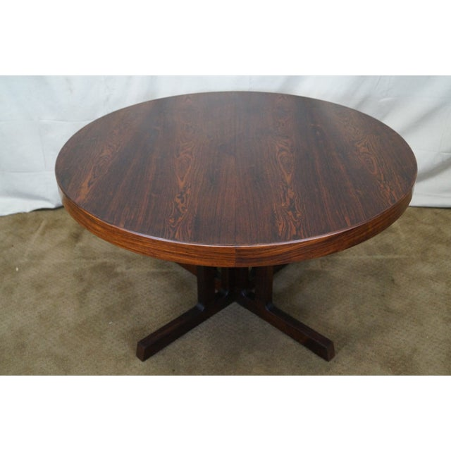 Vintage Danish Modern Rosewood Round Dining Table - Image 2 of 10