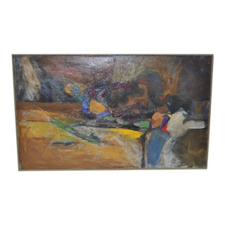 1950s Abstract Oil on Canvas Painting