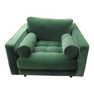 Grass Green Velvet Armchair Tufted Seat