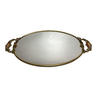 Hollywood Regency Goldtone Cameo Mirrored Dresser Tray