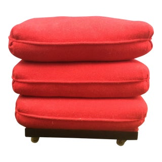 Vintage Cushion Stack on Wheels Ottoman