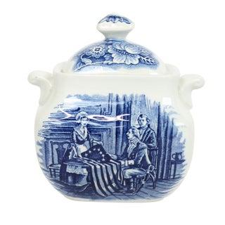 English Delft Americana Sugar Bowl, Betsy Ross