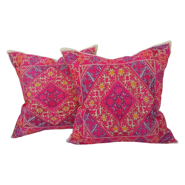 Embroidered Silk Linen Pillow - Pair - Image 1 of 5