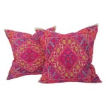 Image of Embroidered Silk Linen Pillow - Pair