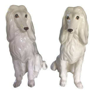 Regency Afghan Hound Dog Figures - a Pair