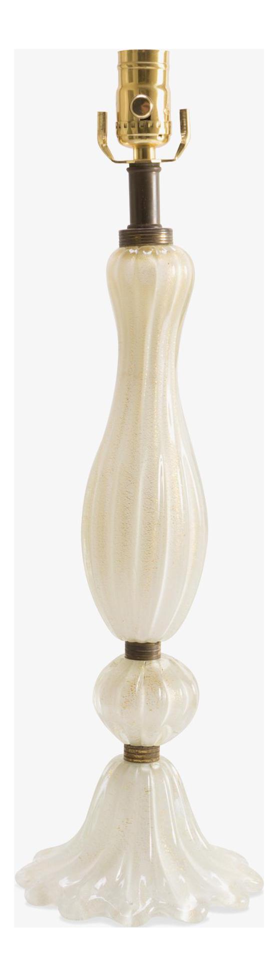draped white murano glass lamp