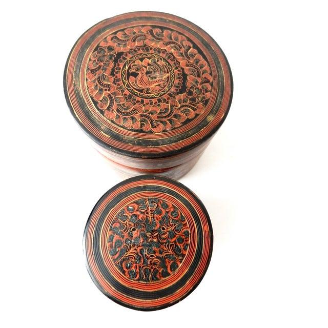 Burmese Lacquerware Betel Nut Boxes - Set of 6 - Image 8 of 8