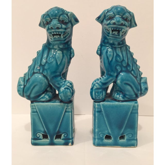 Turquoise Vintage Foo Dogs - A Pair - Image 2 of 9