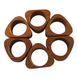 Mid-Century Teak Napkin Rings - Set of 6
