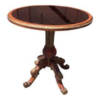 Wood and Glass Neoclassical Style Occasional Table