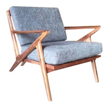 Mid Century Selig Style Walnut Z Chair Chairish