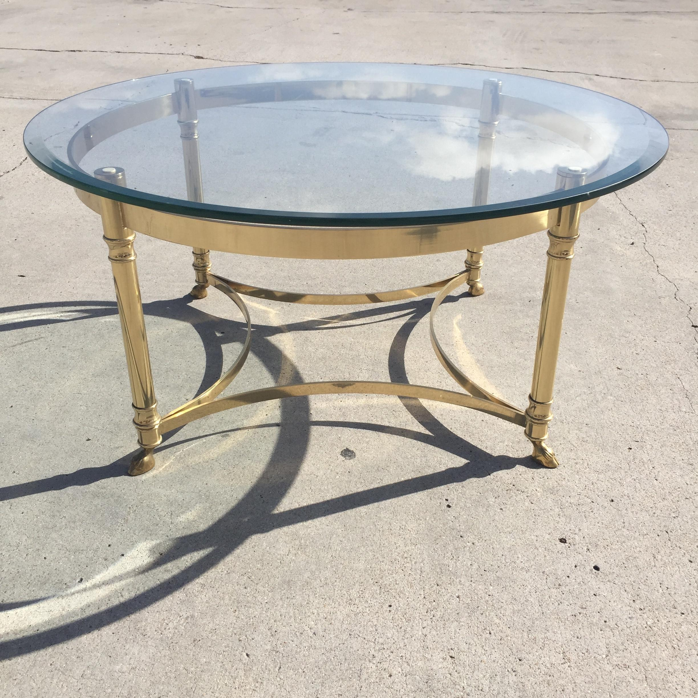 labarge hollywood regency round glass coffee table | chairish