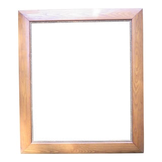 Vintage Large Picture Frame Wood With an Inner Border of Gold Finished Gesso
