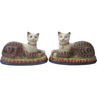 Vintage Ceramic Bengal Cats - A Pair