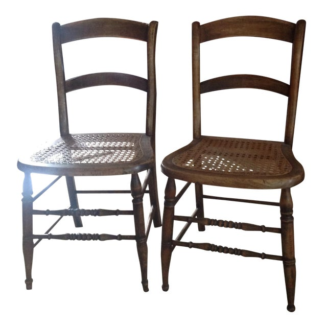 Antique Walnut Cane Seat Dining Chairs - Pair | Chairish