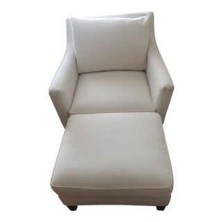 Macy's Modern White Chair & Ottoman