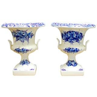 Blue & White Portuguese Porcelain Vases - A Pair