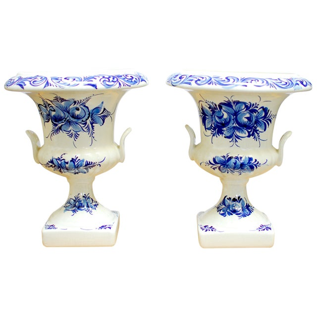 Image of Blue & White Portuguese Porcelain Urns or Vases - A Pair