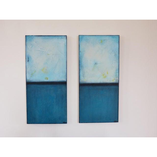 Image of Blue Velvet Sunrise, I & II. Mixed Media Oil on Panel - Pair