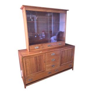 Mid-Century Modern Teak 2-Piece Display Cabinet