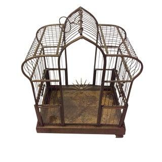 Victorian Glass & Brass Birdcage