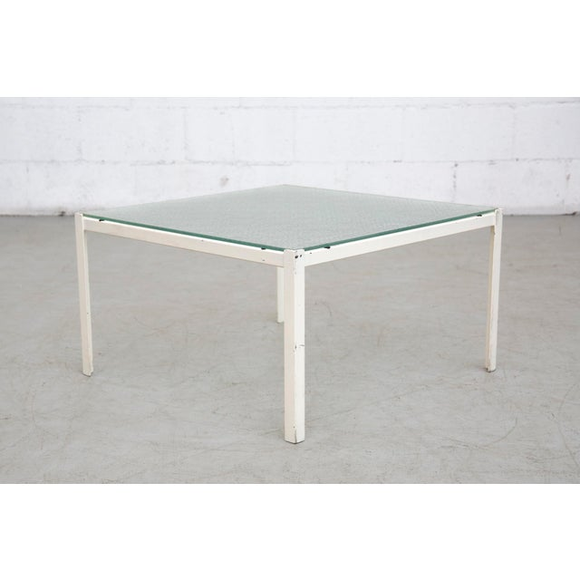 Image of White Metal & Grid Glass Side Tables - A Pair