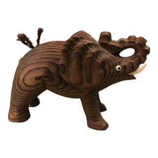 Vintage Wony Japan Cryptomeria Carved Wood Elephant