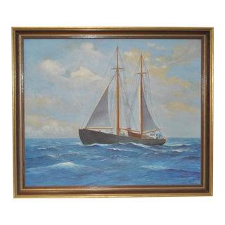Circa 1950 Hans Jorgensen (American, 1878-1963) Maritime Oil Painting